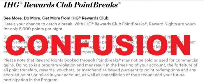 IHG Rewards Club PointBreaks Confusion