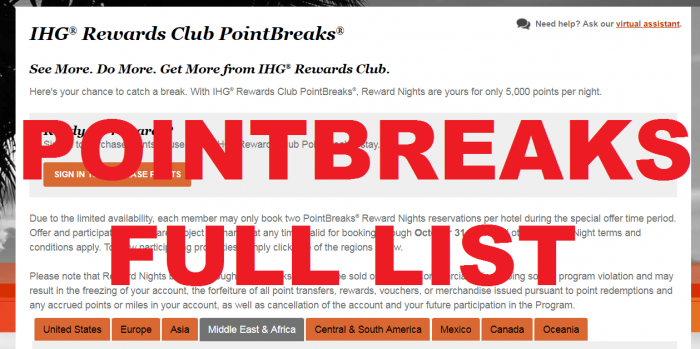 IHG Rewards Club PointBreaks July 31 - October 31 2017