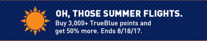 JetBlue Buy TrueBlue Points 50 Percent Bonus Though August 18 2017