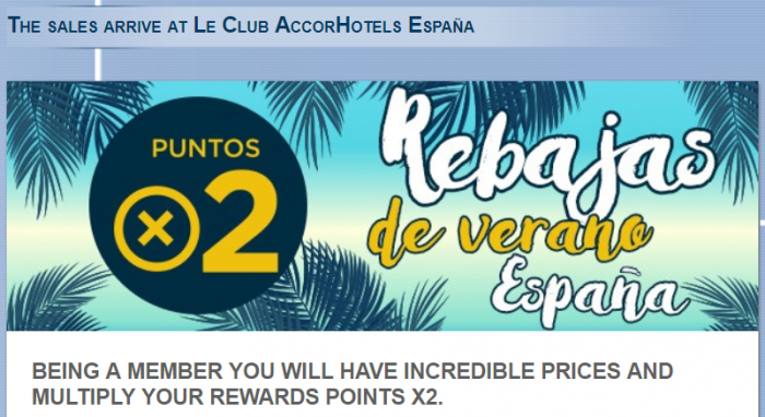 Le Club AccorHotels Ibis Spain Double Points August 1 - September 15 2017