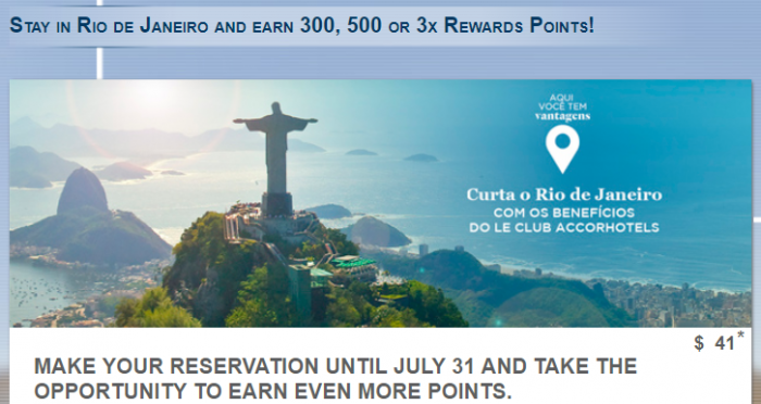 Le Club AccorHotels Rio De Janeiro 300, 500 Or Triple Points July 1 – August 31, 2017 (Book July 1 – 31)