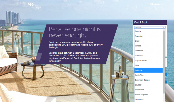 SPG Americas Amex Americas 40 Percent Off Every Second Nights September 1 - December 31 2017