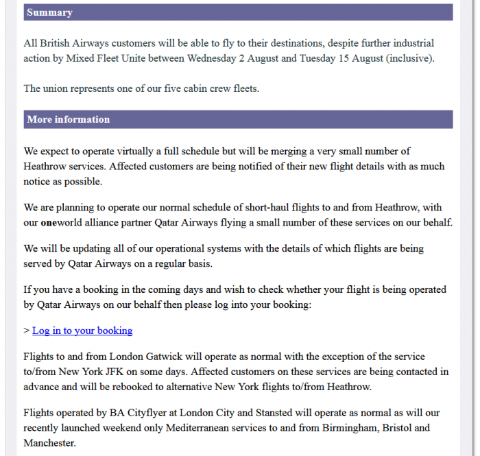 BA MF Strike August 2 - 15