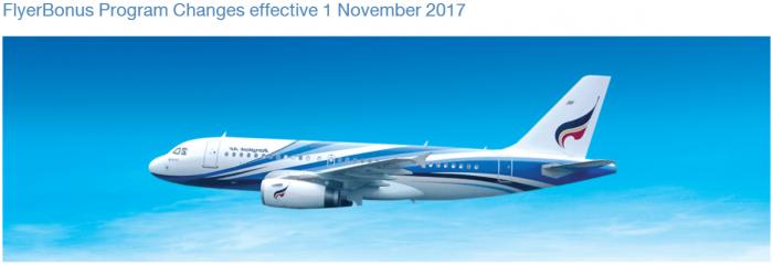 Bangkok Airways FlyerBonus Program Changes Effective November 1 2017