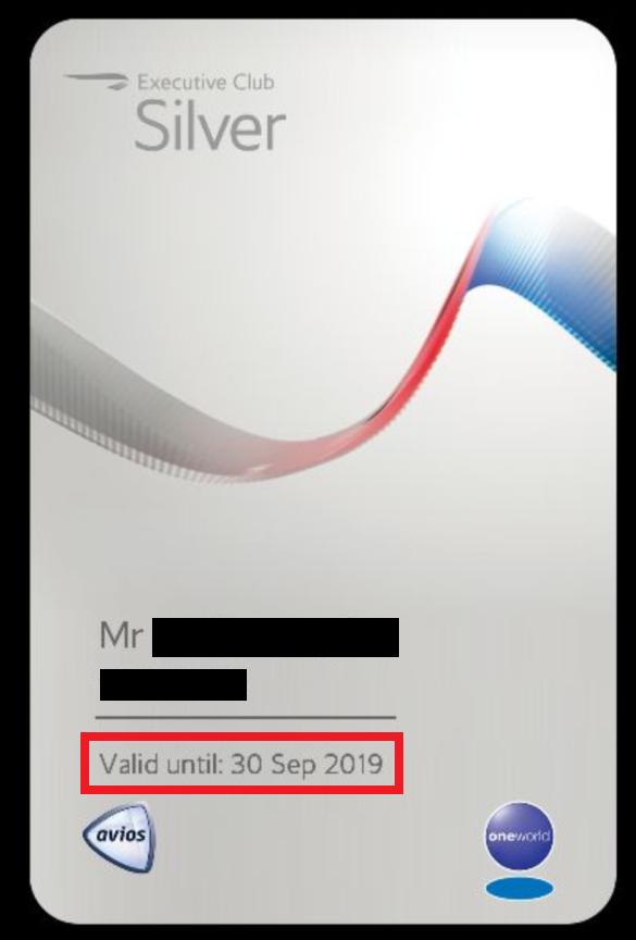 British Airways Executive Club Gold Guest List Partner Card