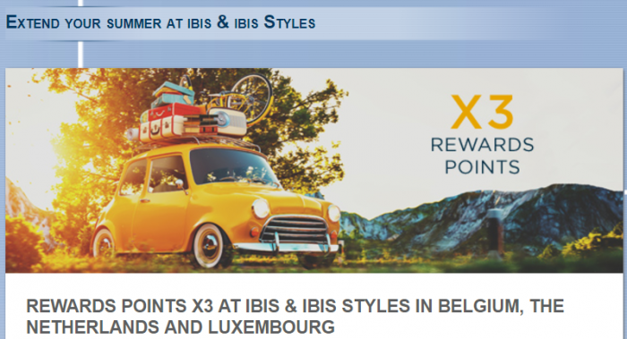 Le Club AccorHotels Benelux Ibis & Ibis Styles Triple Points August 16 - October 31 2017