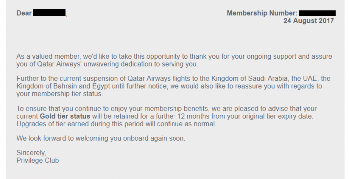 Qatar Airways Status Extensions Email
