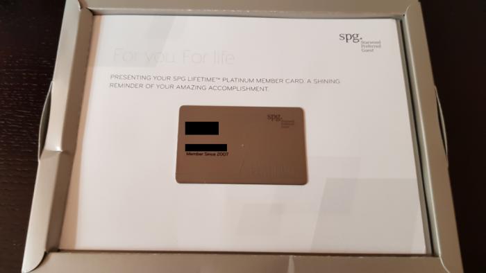 SPG Lifetime Platinum Kit Card