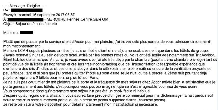 Compensation Clinic Mercure Rennes Centre Gare Email to Hotel