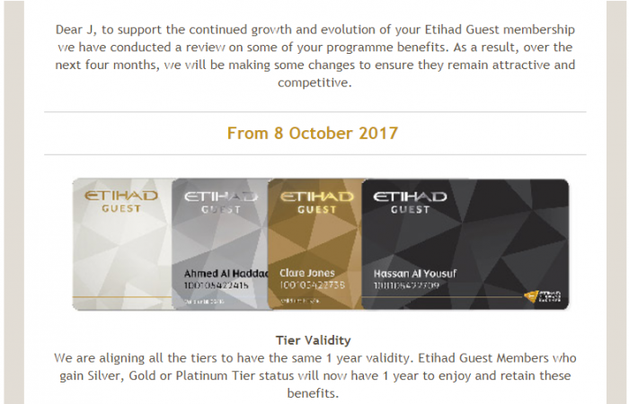 Etihad Guest Benefit Downgrades Tier Validity