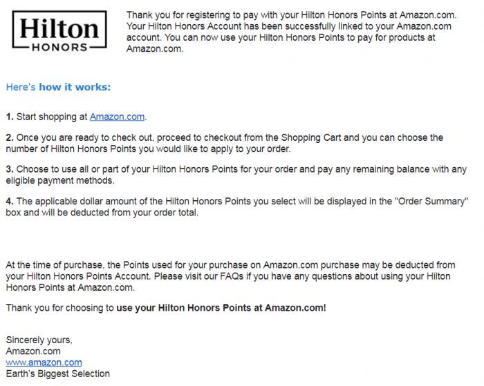 Hilton Amazon Confirmation