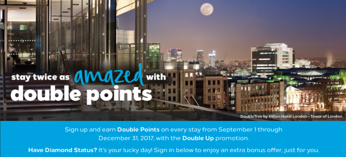 Hilton Honors Promo September 1 - December 31 2017