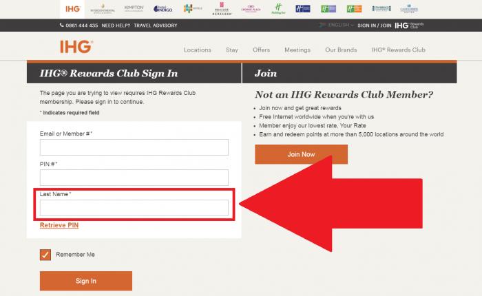 IHG Rewards Club Online Account