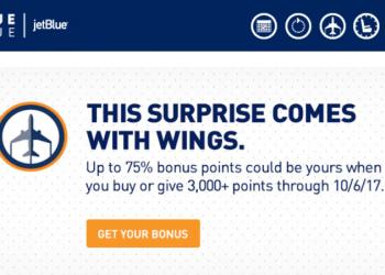 JetBlue TrueBlue Buy Points Up To 75 Percent Mystery Bonus September 5 - October 6 2017