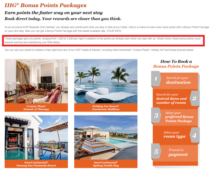 Reader Question IHG Rewards Club Bonus Points Packages Not All Elite Qualifying Page