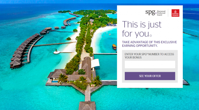 SPG & Emirates Your World Rewards Offer