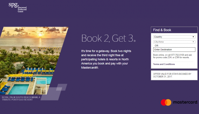 SPG Third Night Free MasterCard Offer Americas Book By October 31 2017