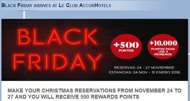 Le Club AccorHotels 500 Bonus Points Per Stays November 24 - January 31 2018