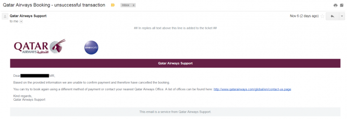 Whine Wednesdays Qatar Airways Payment Verification Reply 3