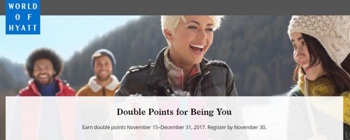 World of Hyatt Double Points November 15 - December 31 2017