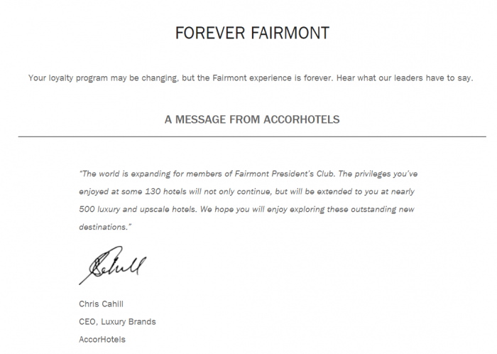 Fairmont Presidents Club Le Club AccorHotels Integration Messages