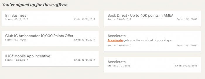 IHG Account Activity Registered Offers