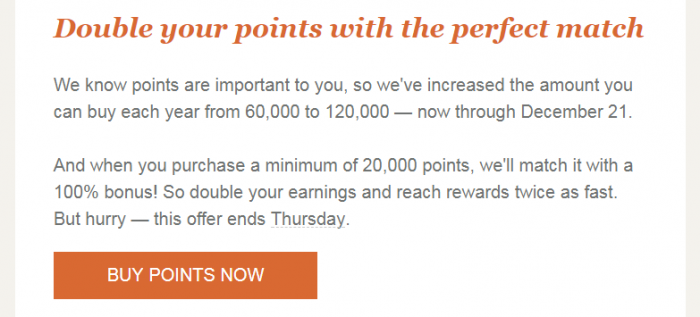 IHG Rewards Club Buy Points Flash Sale Update Text