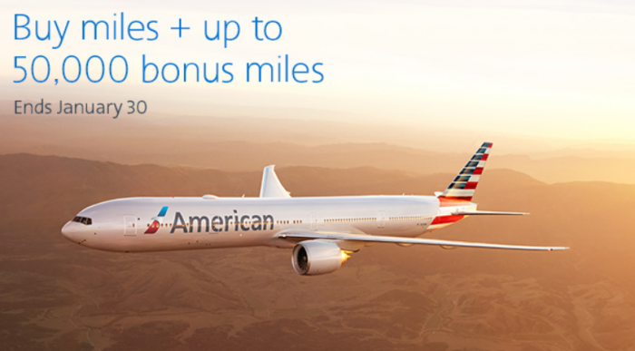 American Airlines Buy AAdvantage Miles January 2018 Campaign