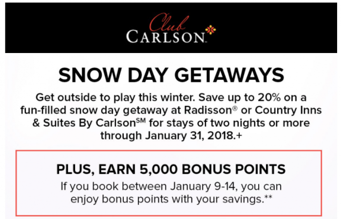 Club Carlson Radisson & Country Inns 5,000 Bonus Points + Up To 20% Off Of Stays In The Americas Through January 31, 2018 (Book By January 14)
