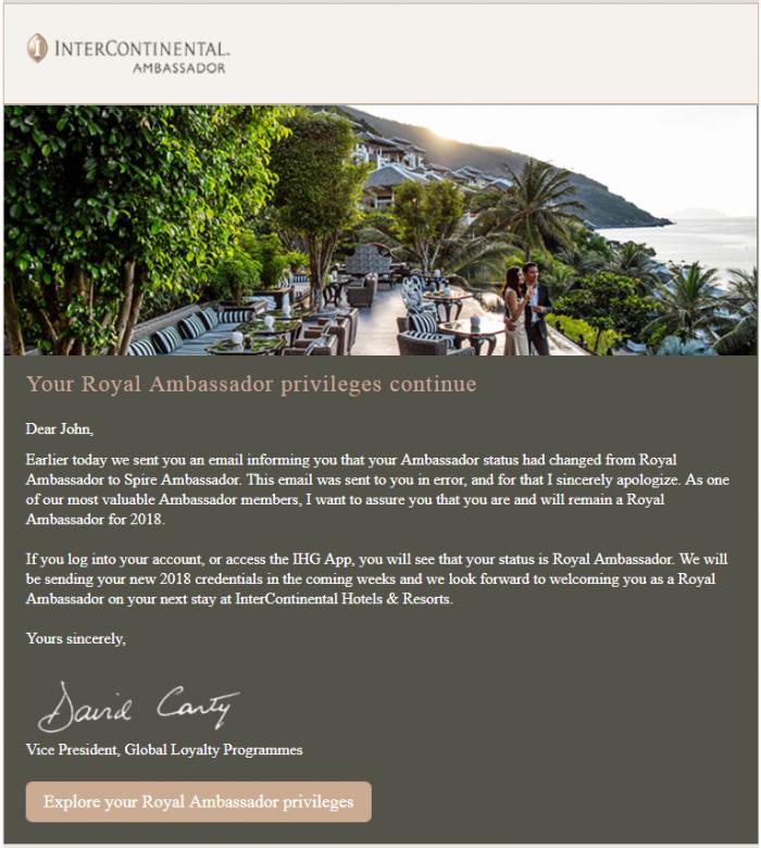 InterContinental Royal Ambassador Email
