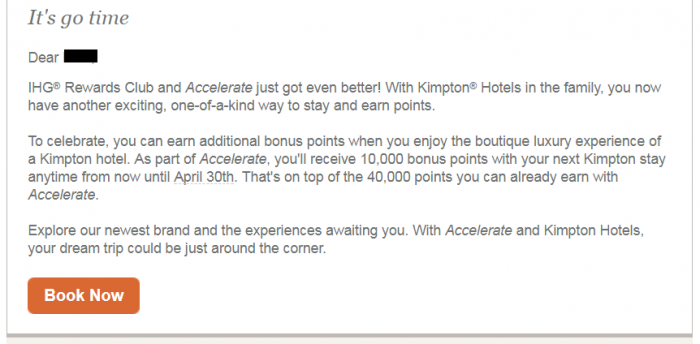 IHG Rewards Club Accelerate Kimpton Text