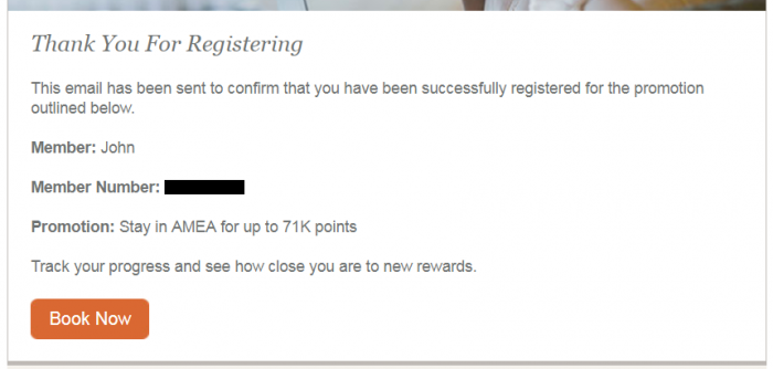 IHG Rewards Club Stay With Us Again 71,000 Bonus Points Email Confirmation