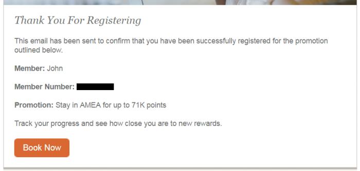 IHG Rewards Club Stay With Us Again 71,000 Bonus Points Email Confirmation
