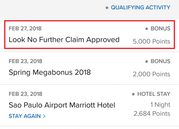 Marriott LNF Bonus Points Update