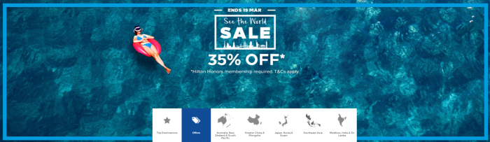 Hilton Honors See The World 35 Percent Off Flash Sale South East Asia & Australasia