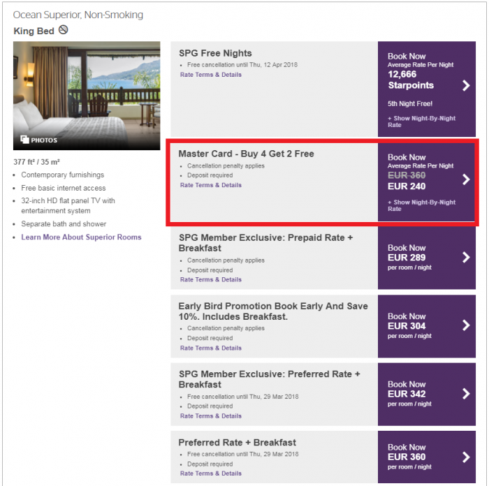 Starwood Preferred Guest Mastercard Europe Middle East Africa Offer LMSEZ