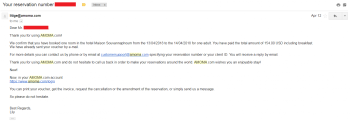 Amoma Booking Confirmation Email Second