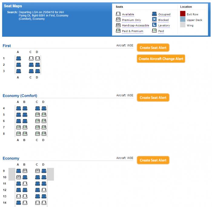 DL LGA-IAH DL6121 E70 Seat Map