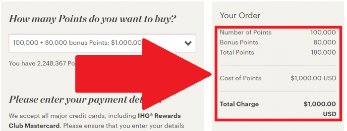 IHG Rewards Club Buy Points Campaign April - May 2018 Price