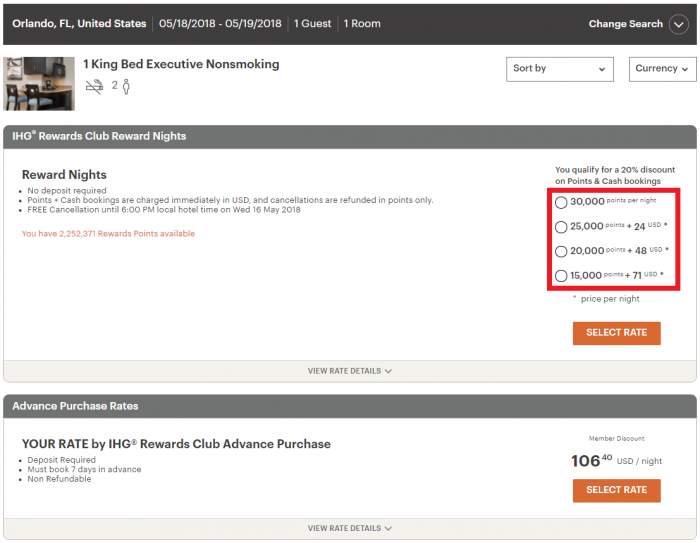 IHG Rewards Club Point & Cash Discount CP Orlando