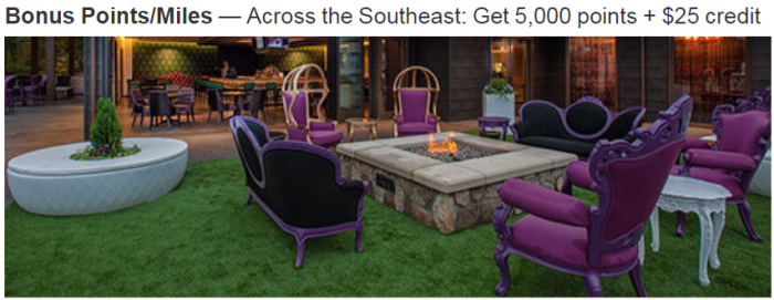 Marriott Rewards Select Autograph Collection Hotels In Southeast 5,000 Bonus Points + $25 Credit Per Stay June 1 – August 24