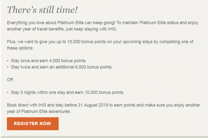 IHG Rewards Club Platinum Fast Track + Bonus Points Text