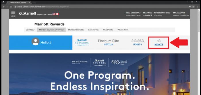 Marriott Rewards Lifetime Totals