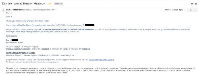 SPG Heathrow Sheraton Email