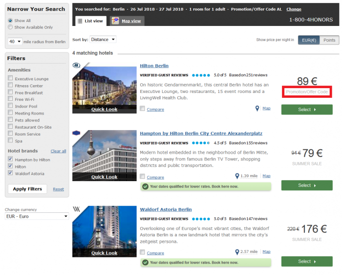 Hilton Honors Travel AGent Airlines Staff Rate Search