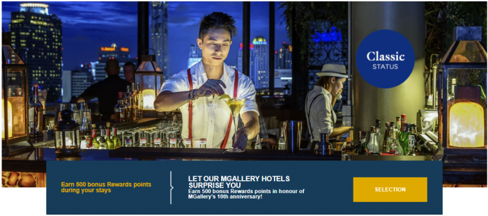 Le Club AccorHotels MGallery 500 Bonus Points