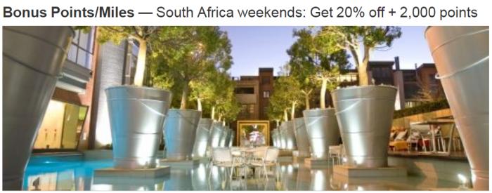 Marriott Rewards South Africa Autograph Collection 20 Off + 2000 Bonus Points