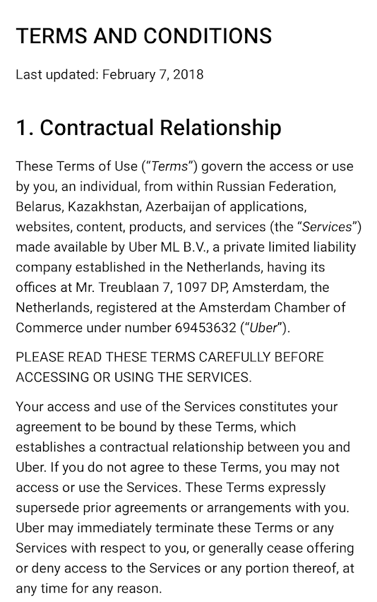 Uber Russia Yandex Terms