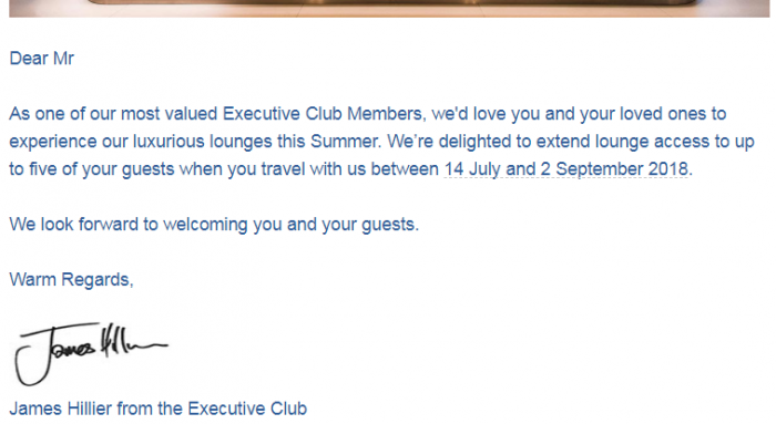 British Airways Executive Club Summer 2018 Guests Email