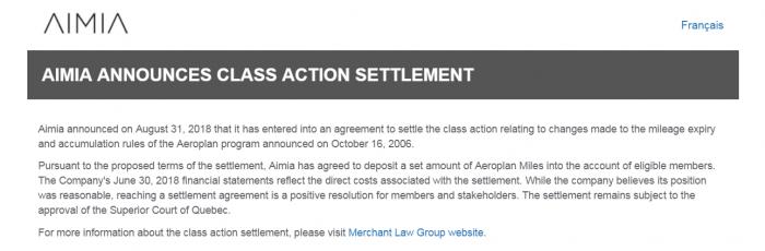 Aimia Aeroplan Class Action Settlement